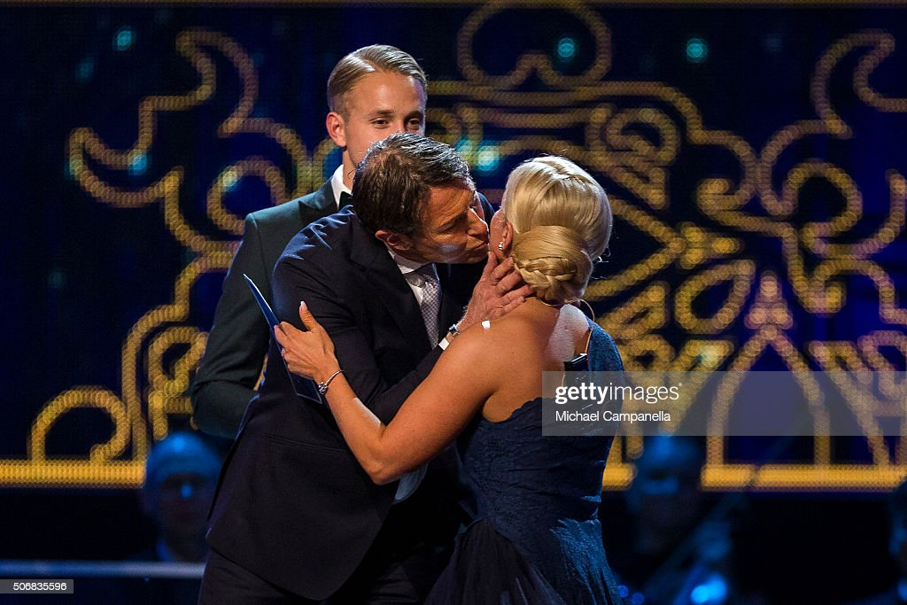 Hoakan Ericson kisses Shahrzad Kiavash after winning the prize for Performance of the Year at the Swedish Sports Gala at the Ericsson Globe on January 25, 2016 in Stockholm, Sweden.