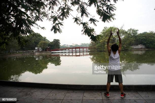 Hoan Kiem Lake and its surroundings in the city of Hanoi Vietnam on 5 June 2017 It is one of the places preferred by the inhabitants of the city to...