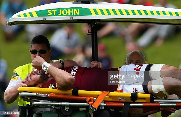 Hoani MacDonald of Southland leaves the field after suffering a heart attack during the ITM Cup Championship Semifinal match between Counties Manukau...