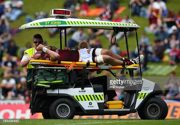 Hoani MacDonald of Southland leaves the field injured during the ITM Cup Championship Semifinal match between Counties Manukau and Southland at...