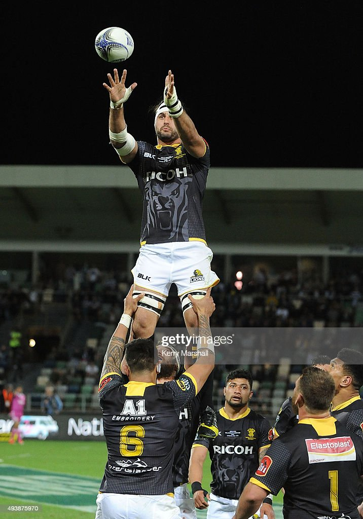 Hoani Matenga of Wellington takes a lineout during the ITM Cup Championship Final between Hawke's Bay and Wellington at McLean Park on October 23, 2015 in Napier, New Zealand.