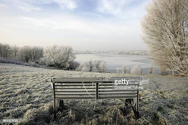 Hoar frost covers a bench and vegetation around Pickmere lake on December 28, 2005 in Knutsford, England. Wintery weather has hit parts of Britain,...