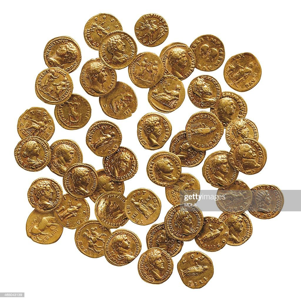 Hoard of 43 Roman gold coins, or aurei, from London, found in a