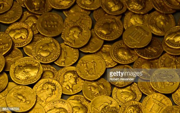 A hoard of Roman coins from AD 160 on display at the British Museum in London England The gold aureus coins were found in 1911 during an excavation...