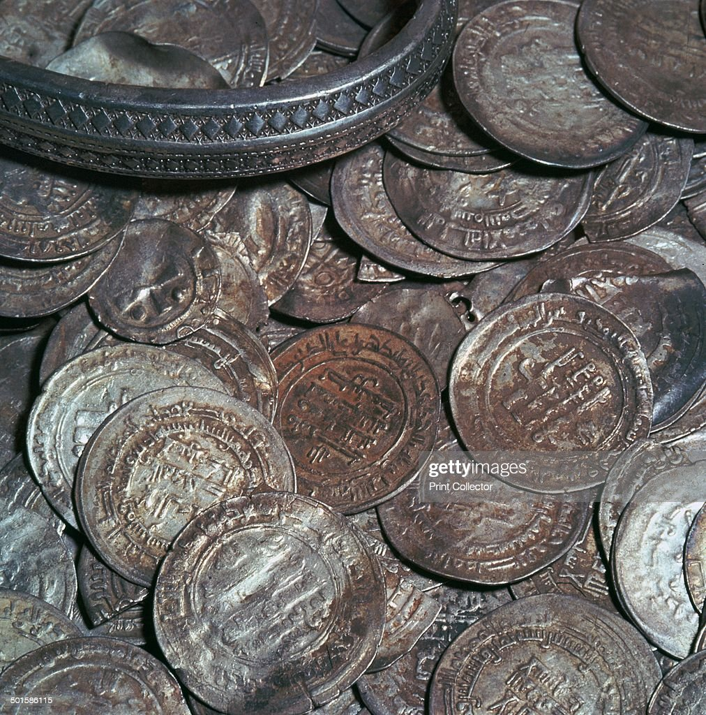 Hoard of silver with arab coins from a Viking grave, showing trade with and travel to the middle east.