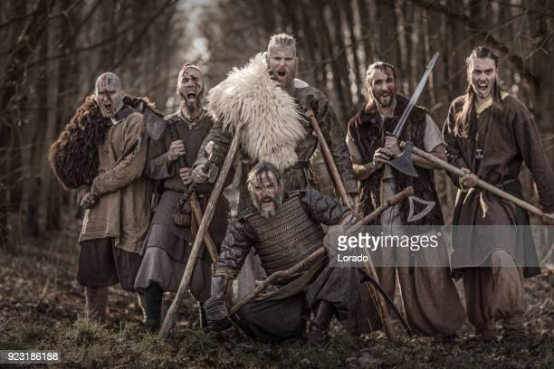 a hoard of weapon wielding bloody viking warriors on a winter battlefield forest - historical reenactment stock photos and pictures
