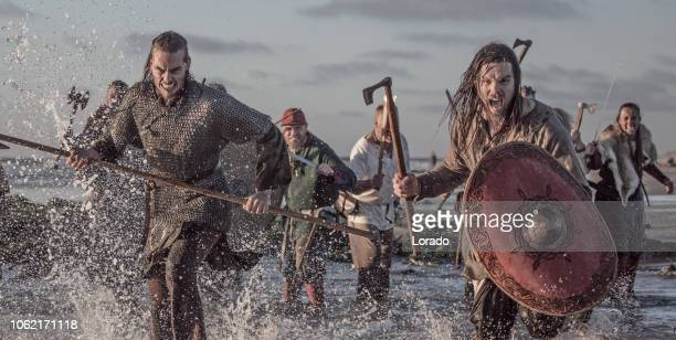 a hoard of weapon wielding viking warriors fighting in a battlefield scene in the sea - historical reenactment stock photos and pictures