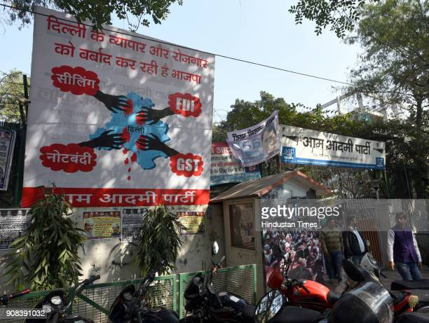 A hoarding against sealing and FDI GST and note bandi out side the Aam Adami Party HQ in ITO during a meeting on the issue of sealing and FDI at AAP...
