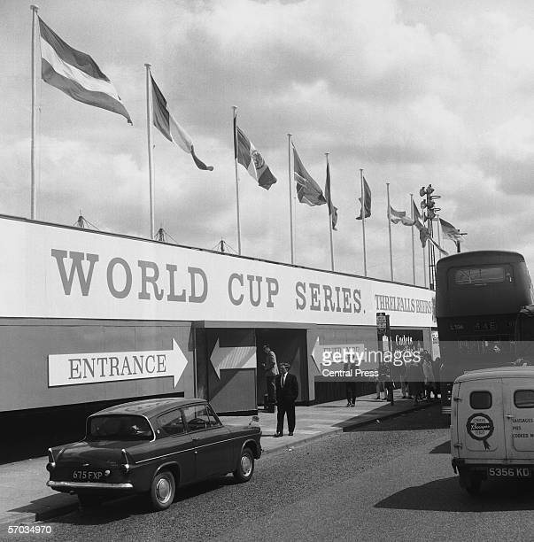 Hoardings around the entrance of the Hillsborough stadium in Sheffield during the 1966 World Cup in England July 1966