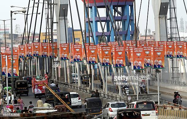 BJP hoardings during election campaigns on Chiraiya Bridge on October 20 2015 in Patna India Bihar will hold fivephase elections between October 12...