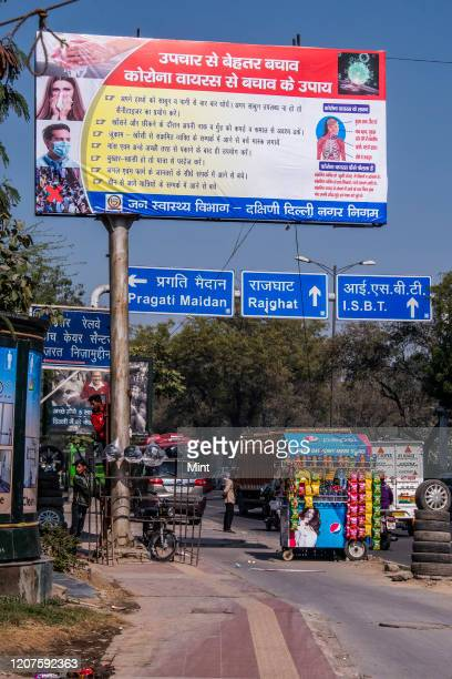 Hoardings of coronavirus instructions seen at ring road, on March 3, 2020 in New Delhi, India. The virus has spread to more than 150 countries and 13...