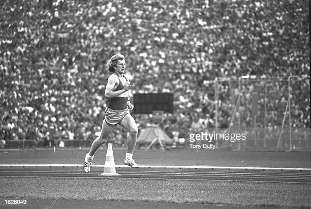 A hoax student athlete enters the stadium during the Marathon event at the 1972 Olympic Games in Munich West Germany Mandatory Credit Tony...