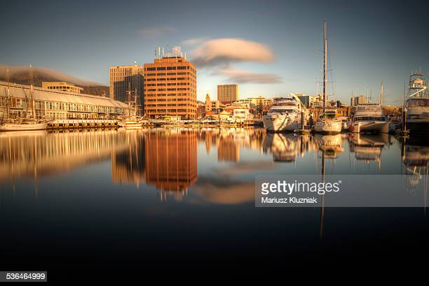 hobart harbour sunrise - hobart tasmania stock pictures, royalty-free photos & images