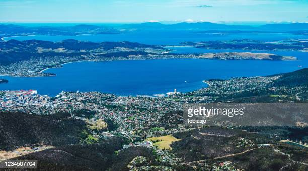 hobart in tasmania, australia, seen from above - hobart tasmania stock pictures, royalty-free photos & images
