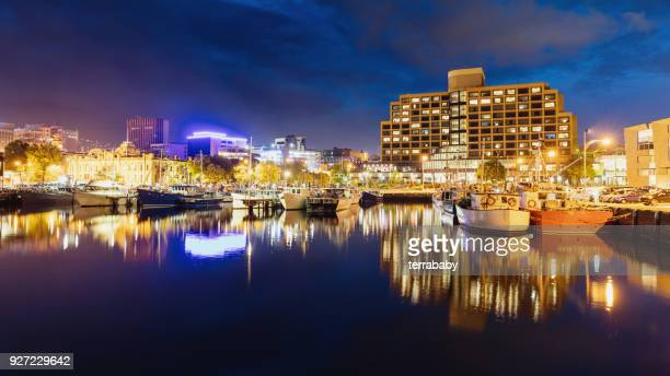 hobart skyline at night panorama tasmania - hobart tasmania stock pictures, royalty-free photos & images