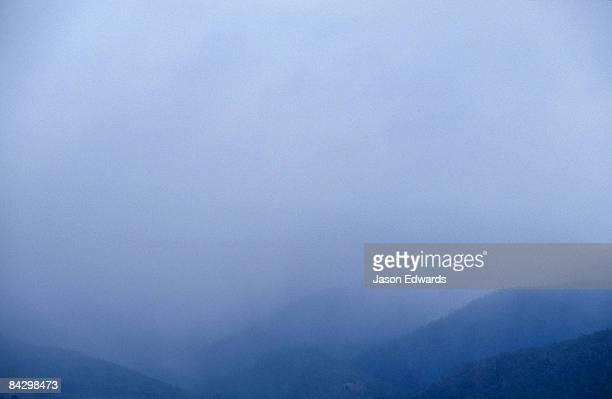 Torrential storm clouds envelope Hobart and Mount Wellington.