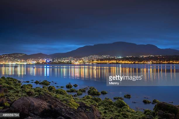 Hobart, Tasmanien Stadt Reflections Nacht Australien
