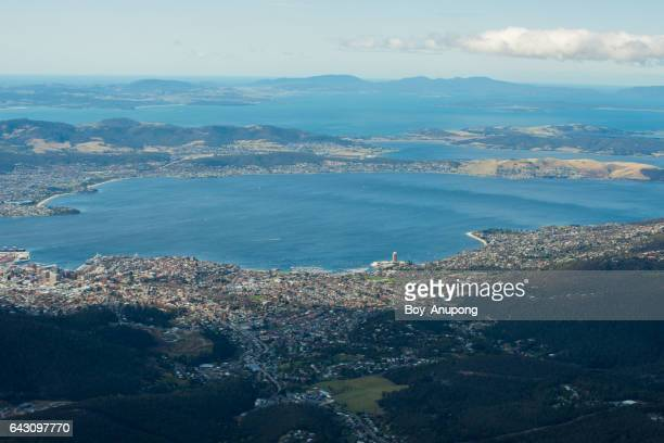 hobart the capital of australia island state of tasmania view from the top of mount wellington, australia. - derwent water stock photos and pictures