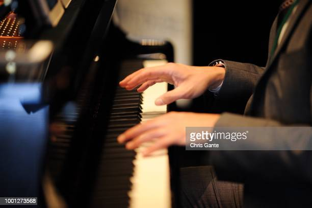 hobbies; hands in action; at the piano, left view. - flashing at concerts stock photos and pictures