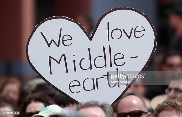 Hobbit supporter holds up a poster in protest at Civic Square on October 25, 2010 in Wellington, New Zealand. Stakeholders of the film marched...