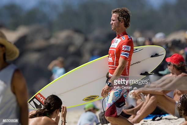 Hobgood of the United States walks to the waters edge before his Round 1 heat the Quiksilver Pro Gold Coast presented by LG Mobile on March 01, 2009...