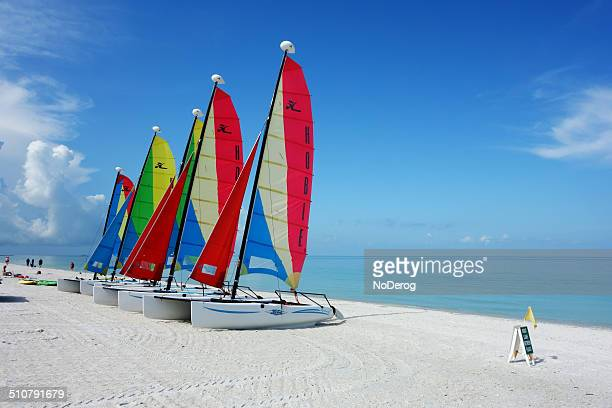 hobie cat catamaran sailboats - marco island stock pictures, royalty-free photos & images