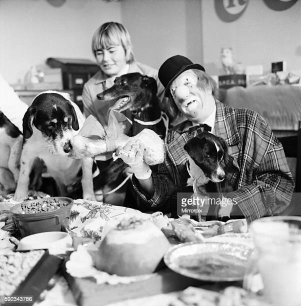 'Hobo' plays host to the doggy guests enjoying a menu of biscuits dogmeat turkey gravysauce and chocolatedrops December 1970 7011583005