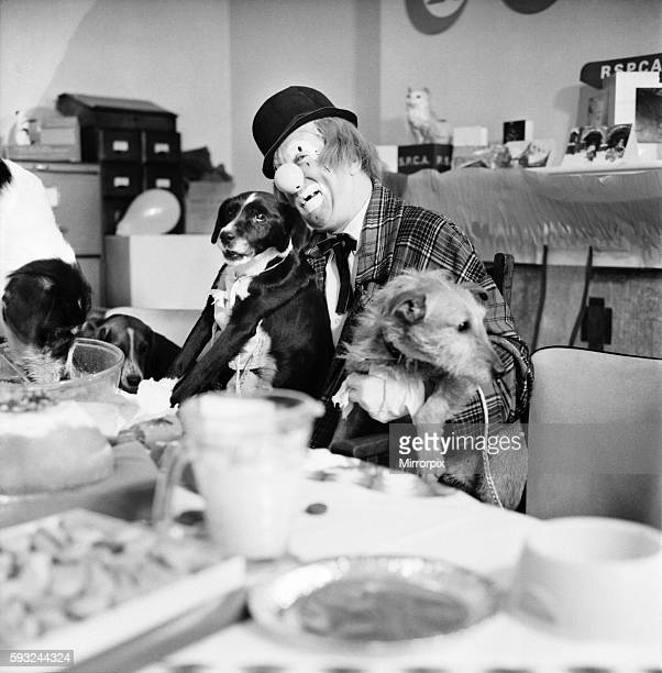 'Hobo' plays host to the doggy guests enjoying a menu of biscuits dogmeat turkey gravysauce and chocolatedrops December 1970 7011583006