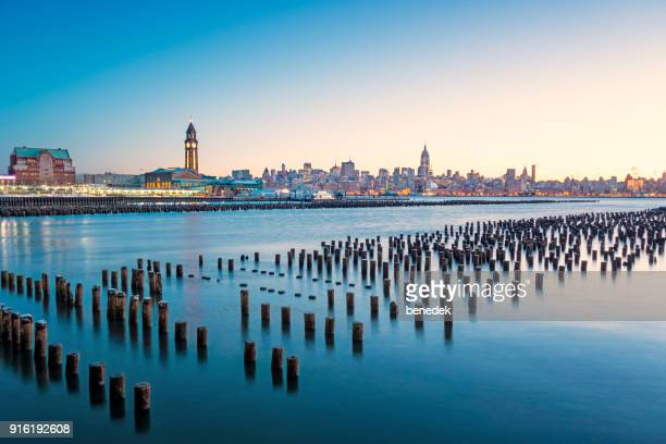 hoboken new jersey and manhattan new york city - hoboken stock pictures, royalty-free photos & images