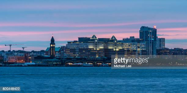 hoboken, new jersey at sunset - hoboken stock pictures, royalty-free photos & images