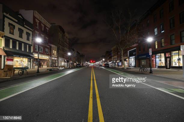 Hobokenâs famous Washington Street is seen empty in New Jersey United States on March 16 2020 New Jersey residents were told on Monday that they...