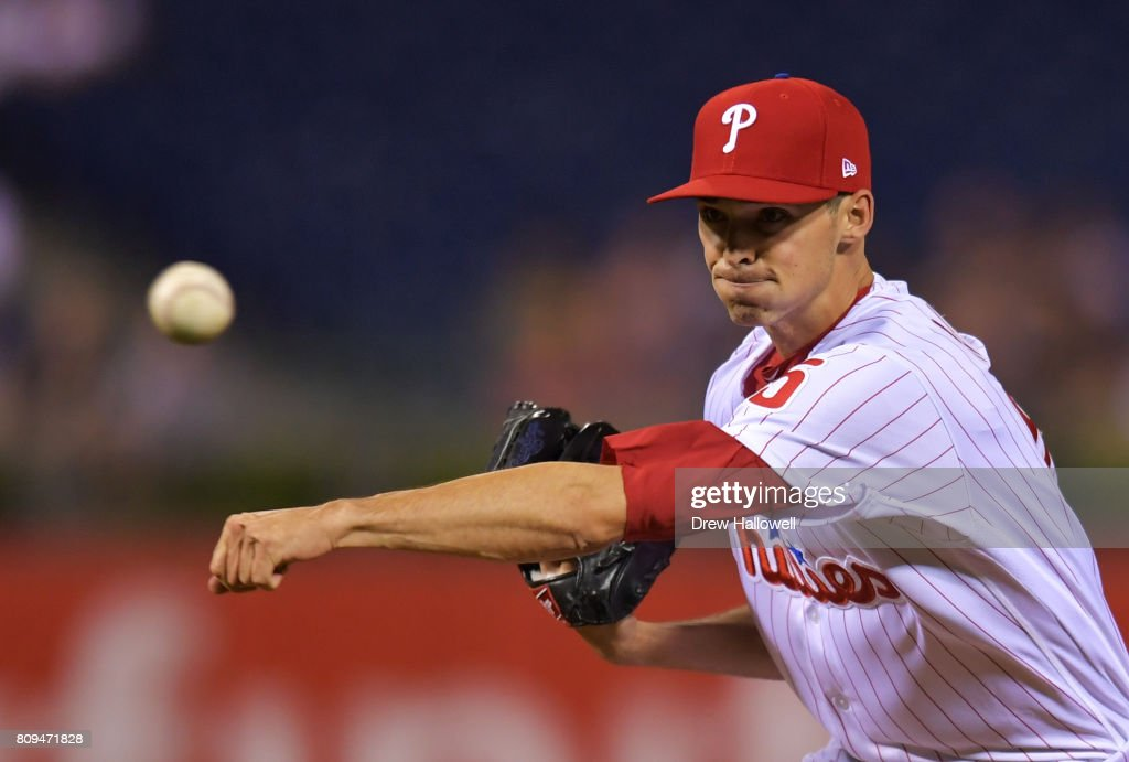 Hoby Milner #55 of the Philadelphia Phillies delivers a pitch in the ninth inning against the Pittsburgh Pirates at Citizens Bank Park on July 5, 2017 in Philadelphia, Pennsylvania. The Pirates won 5-2.