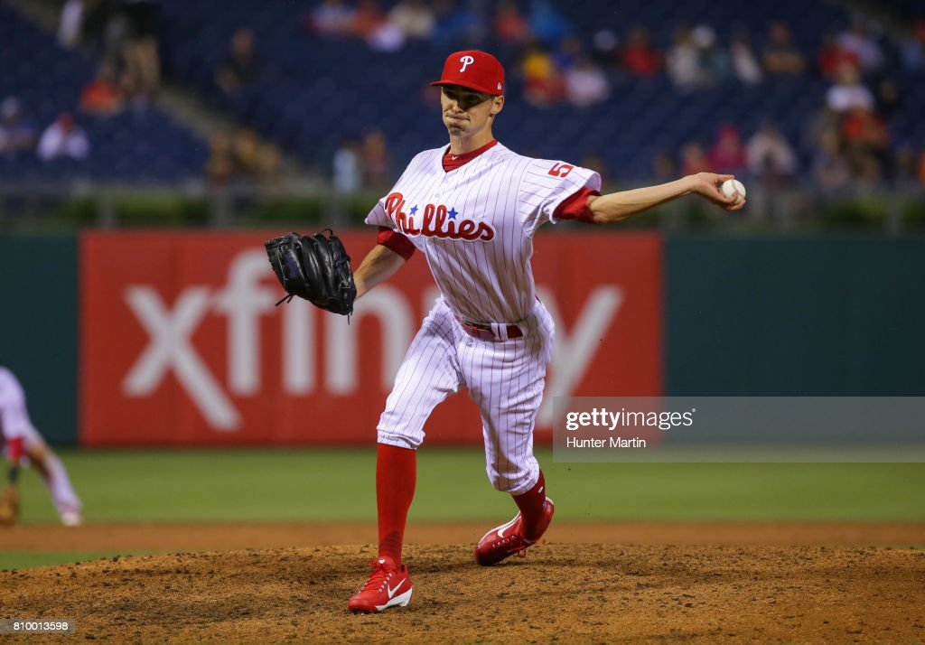 Hoby Milner #55 of the Philadelphia Phillies throws a pitch in the ninth inning during a game against the Pittsburgh Pirates at Citizens Bank Park on July 6, 2017 in Philadelphia, Pennsylvania. The Pirates won 6-3.