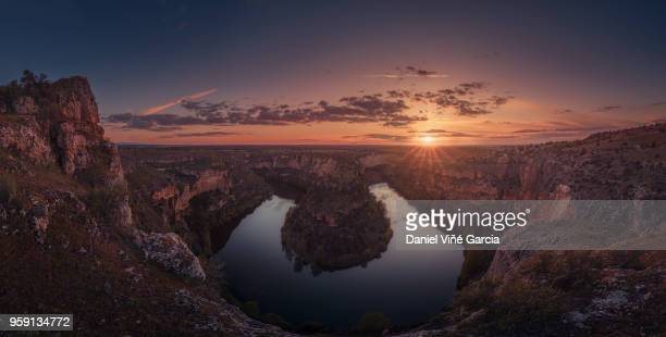 hoces del rio duraton natural park at sunset - segovia stock pictures, royalty-free photos & images