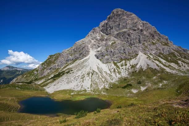 Hochalpsee and Widderstein, near Baad, Kleinwalsertal, Allgaeu Alps, Allgaeu, Vorarlberg, Austria