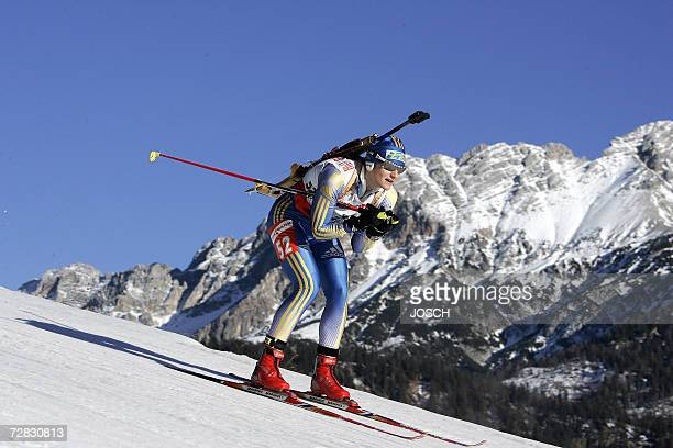 Sweden's Anna Carin Olofsson competes during the women's 75 km sprint at the Biathlon World Cup in Hochfilzen 15 December 2006 Olofsson won ahead of...
