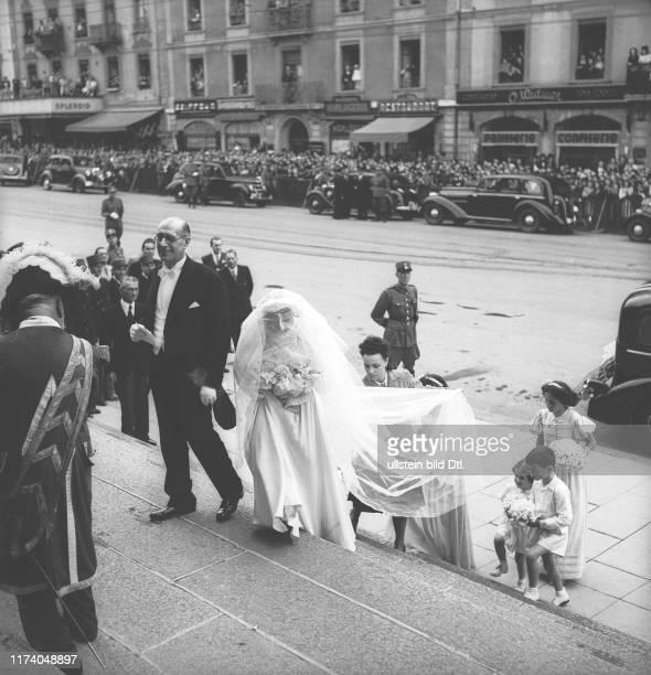 Hochzeit von Geneviève de Gaulle und Bernard Anthonioz in der Notre-Dame-Kirche in Genf, 1946