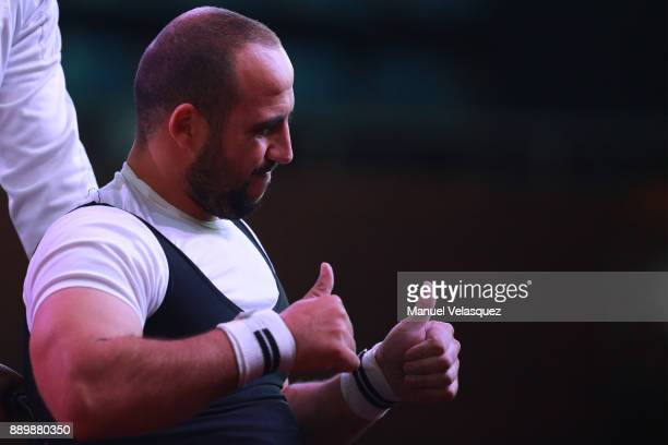 Hocine Bettir of Algeria gestures during the Men's Up to 65Kg Group A Category as part of the World Para Powerlifting Championships Mexico 2017 at...