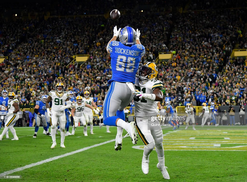 T.J. Hockenson of the Detroit Lions can't complete the pass in the... News  Photo - Getty Images
