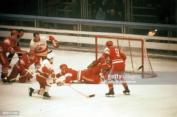 1968 Winter Olympics Canada Danny O'Shea and Roger Bourbonnais in action vs Soviet Union during World Championship Group A First Round game at Palais...