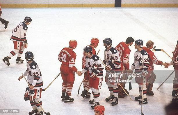 1980 Winter Olympics Aerial view of Team USA victorious shaking hands with USSR after winning Medal Round game at Olympic Fieldhouse in the Olympic...