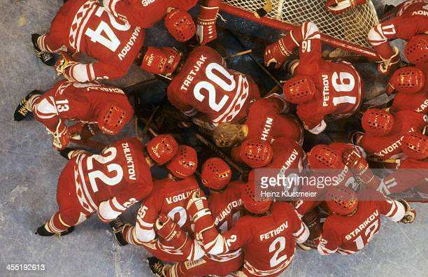 1980 Winter Olympics Aerial view of Team USSR players in huddle during Medal Round game vs USA at Olympic Fieldhouse in the Olympic Center Miracle on...