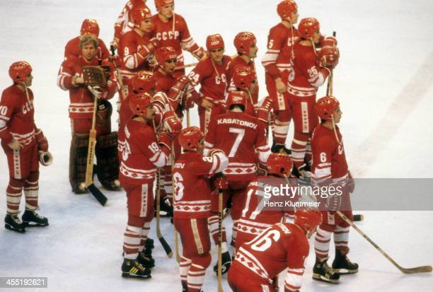 1980 Winter Olympics Aerial view of Team USSR upset after losing Medal Round game vs USA at Olympic Fieldhouse in the Olympic Center Miracle on Ice...