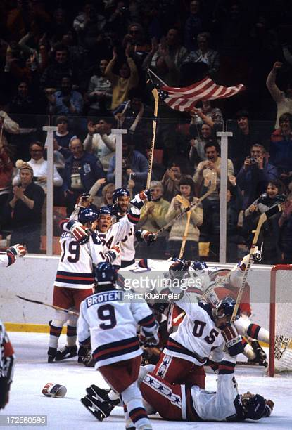 1980 Winter Olympics Overall view of Team USA players victorious on ice after winning Medal Round game vs USSR at Olympic Fieldhouse in the Olympic...