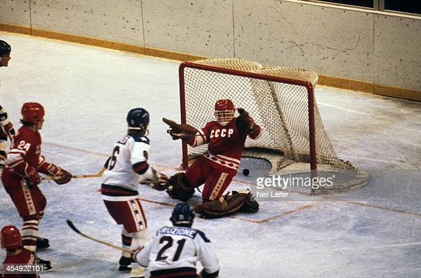 1980 Winter Olympics Team USA Mike Eruzione in action scoring goal to take 43 lead in third period vs USSR at Olympic Fieldhouse in the Olympic...