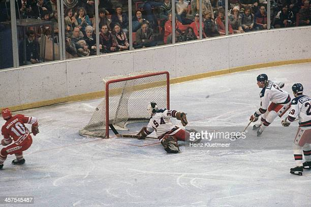 1980 Winter Olympics USA goalie Jim Craig in action allowing goal vs USSR during Medal Round at Olympic Fieldhouse in the Olympic Center Miracle on...