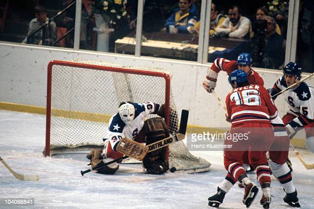 1980 Winter Olympics USA goalie Jim Craig in action save vs Czechoslovakia during First Round Blue Division game at Olympic Center Lake Placid NY...