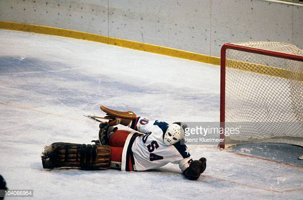 1980 Winter Olympics USA goalie Jim Craig in action save vs USSR during Medal Round at Olympic Center Miracle on Ice Lake Placid NY 2/22/1980 CREDIT...