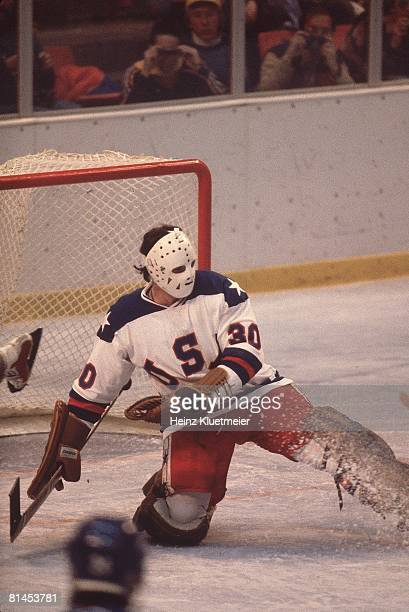 Hockey 1980 Winter Olympics USA goalie Jim Craig in action vs USR Lake Placid NY 2/22/1980