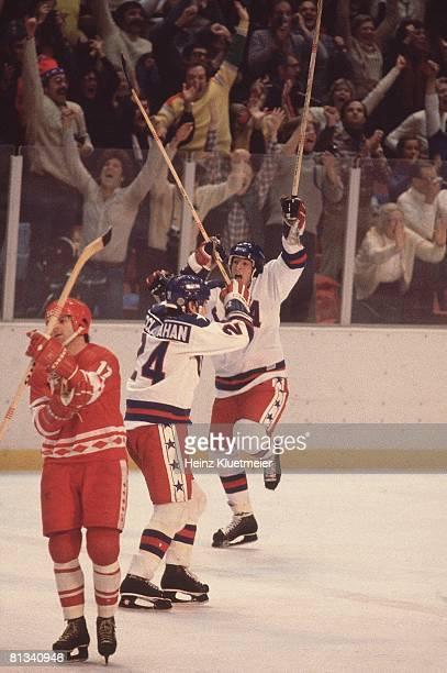 Hockey 1980 Winter Olympics USA hockey team victorious during game vs USR Lake Placid NY 2/22/1980